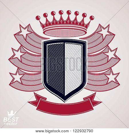 Royal stylized vector graphic symbol. Shield with 3d flying stars and imperial crown. Coat of arms, security idea. Decorative coronet web design blazon.