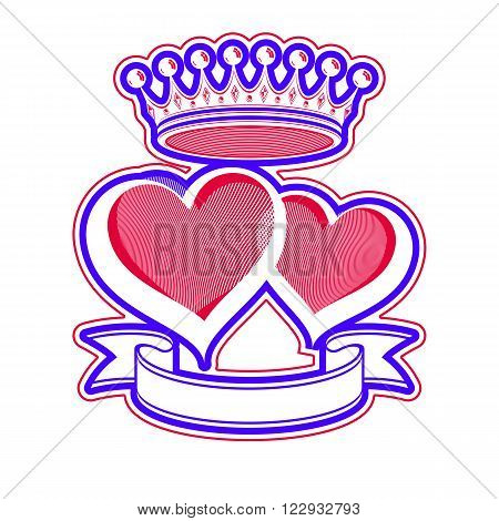 Two loving hearts vector illustration with imperial crown. Royal couple elegant symbol isolated on white background. Valentine's day romantic design element best for use in advertising.