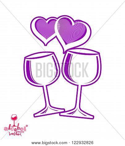 Artistic Illustration Of Wineglasses With Two Elegant Loving Hearts. Wedding Couple Concept – Styliz