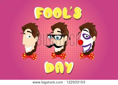 Man Head Fake Mustache Glasses Bow Tie Clown Make Up First April Fool Day Happy Holiday Flat Vector Illustration