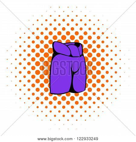 Hockey pants icon in comics style on a white background