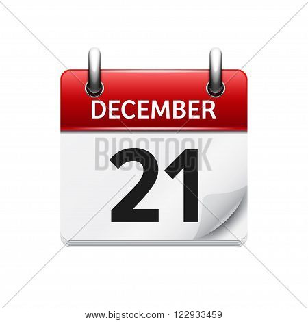 December 21 . Vector flat daily calendar icon. Date and time, day, month. Holiday.