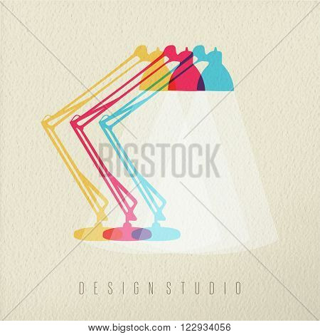 Design studio icon concept illustration of office desk lamp in colorful transparent style over texture background. EPS10 vector.