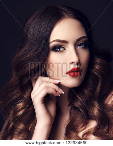 Gorgeous Sexy Woman With Dark Hair And Bright Makeup