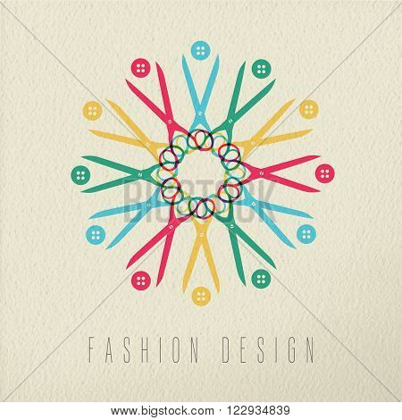 Fashion design colorful concept retro scissors and clothing button composition on texture background. EPS10 vector.