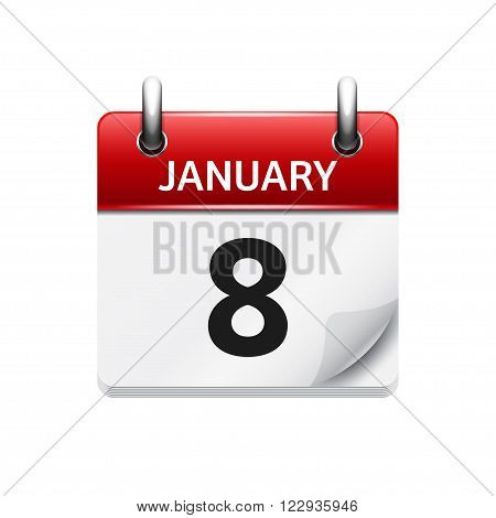 January 8. Vector flat daily calendar icon. Date and time, day, month. Holiday.