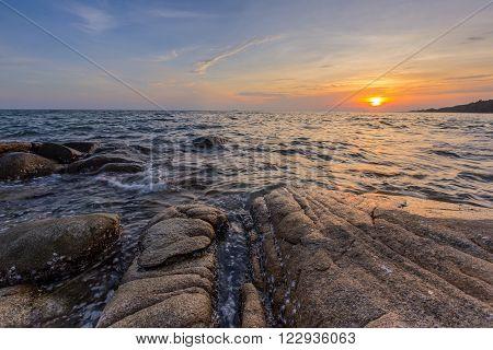 rock beach in Rayong Thailand at sunset - Lan Hin Khao.