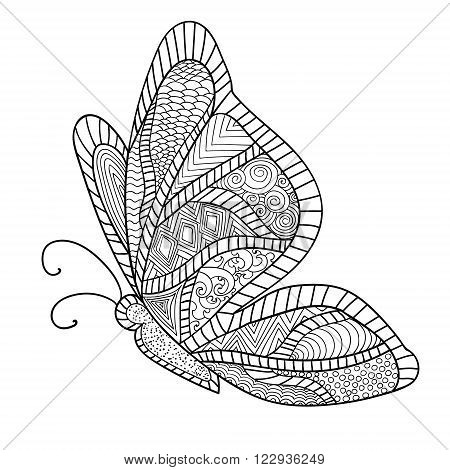 Detailed ornamental sketch of a moth, Hand drawn zentangle for adult anti stress. Coloring page with high details isolated on white background. Zentangle pattern for relax and meditation.