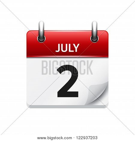 July 2 . Vector calendar icon. Date, day, month.
