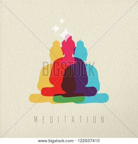 Meditation concept icon illustration of Asian culture Buddha god statue in colorful style over texture background. EPS10 vector.