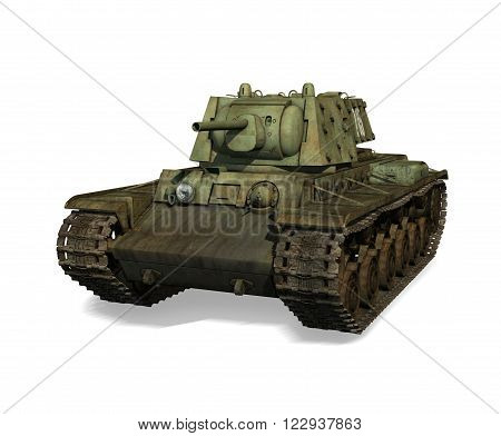 3D illustration of a Russian tank from World War 2 isolated on a white background.