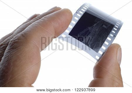 View of the old photographic film on a white background