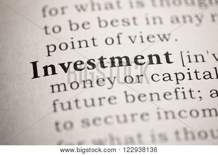 Fake dictionary, definition of the word Investment