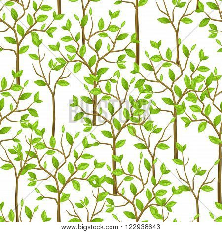 Seamless pattern with garden tress. Background made without clipping mask. Easy to use for backdrop, textile, wrapping paper.