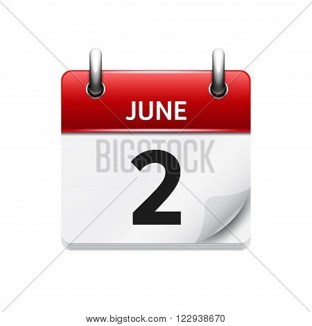 June  2. Vector flat daily calendar icon. Date and time, day, month. Holiday.