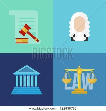 Legal law concept banners. Legal vector. Law flat banners. Legal flat lawyer. Honest lawyer. Collection of law banners for web with buttons. Trial and gavel elements