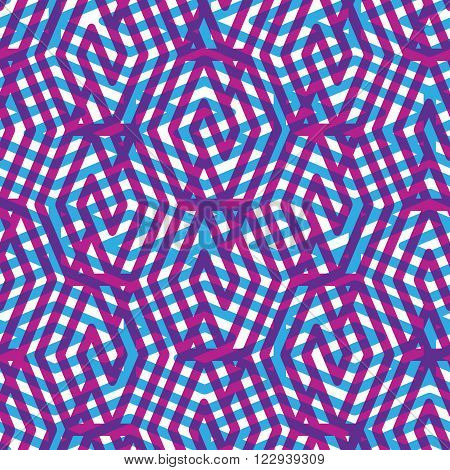 Geometric messy purple seamless pattern colorful vector endless background. Decorative net splicing motif texture.