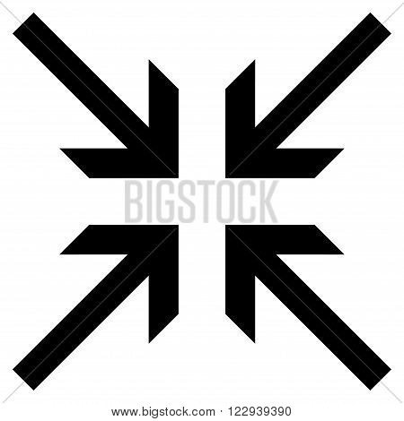 Collide Arrows vector icon. Style is flat icon symbol, black color, white background.