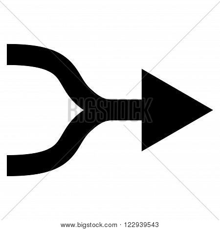 Combine Arrow Right vector icon. Style is flat icon symbol, black color, white background.