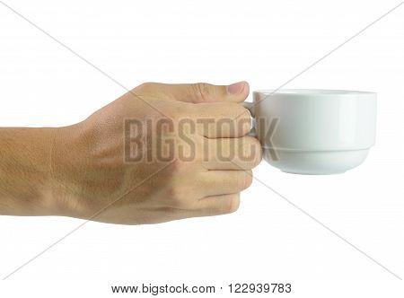 Close up of hand holding coffee cup over white background
