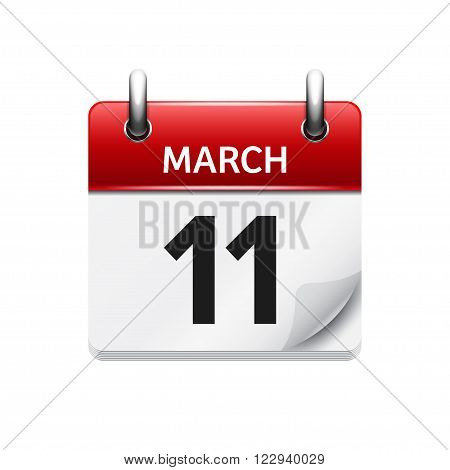 March 11. Vector flat daily calendar icon. Date and time, day, month. Holiday.