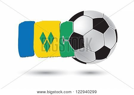 Soccer ball and Saint Vincent and The Grenadines Flag with colored hand drawn lines