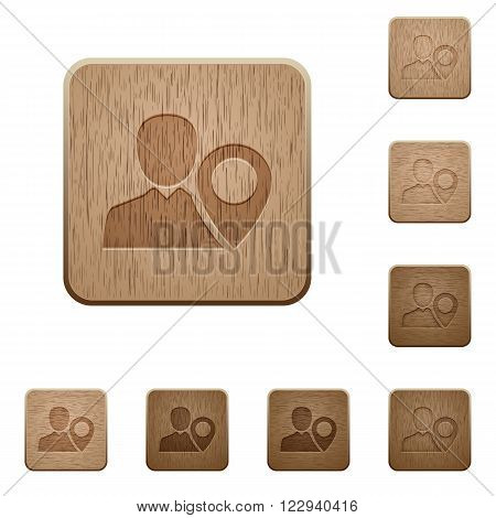 Set of carved wooden user location buttons in 8 variations.