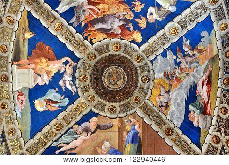 Fresco And Painting Of Raphael Rooms (stanze Di Raffaello). Vatican City, Rome