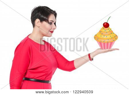 Beautiful Plus Size Woman Holding Cake On Her Hand