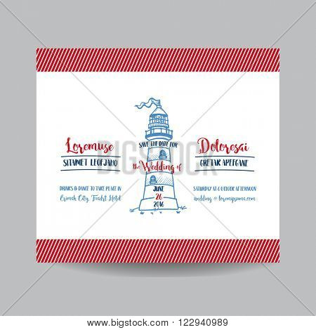 Wedding Invitation Card. Save the Date. Wedding Card. Lighthouse Theme. Marine Theme. Vector Invitation. Bridal Shower.