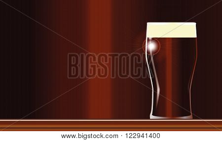A traditional pint of English ale on a wooden bar