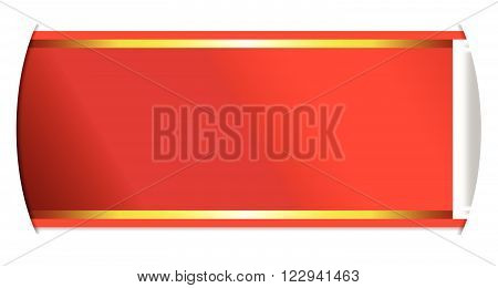 A red and gold satin ribbon passing through slits in a white background
