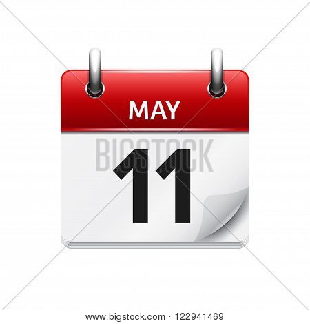 May  11. Vector flat daily calendar icon. Date and time, day, month. Holiday.