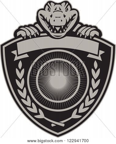 Illustration of coat of arms of an angry gator alligator crocodile head viewed from front holding a crest shield with crown with laurel leaves abd sunburst done in retro style on isolated background.
