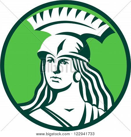 Illustration of a bust of female warrior with spartan helmet looking to side set inside circle done in retro style.