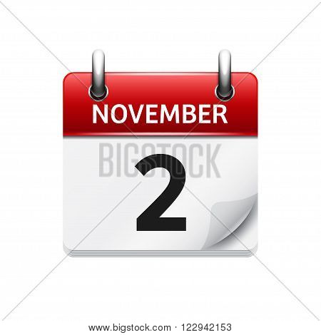 November 2 . Vector flat daily calendar icon. Date and time, day, month. Holiday.