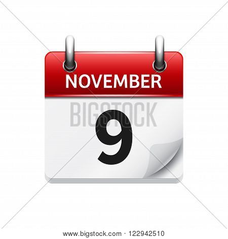 November 9 . Vector flat daily calendar icon. Date and time, day, month. Holiday.