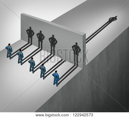 Leadership skill business concept as a group of people casting shadows stopping at a wall but one individual businessman has a shadow leap forward through the obstacle as an ability to succeed metaphor.