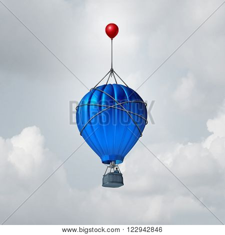 Extra help business concept or a metaphor for over and above symbol as a hot air balloon being reinforced by an additional small red balloon as an advantage to augment or extend the rise.