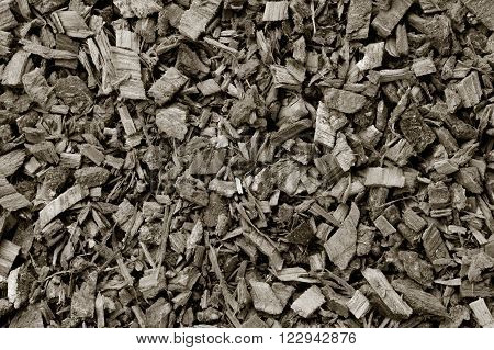 the texture of the crushed oak bark. vegetable raw materials for preparation of tea beverages medicinal product. alternative medicine. black and white photo