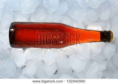 Bottle of beer in ice