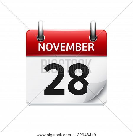 November 28 . Vector flat daily calendar icon. Date and time, day, month. Holiday.