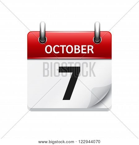 October  7. Vector flat daily calendar icon. Date and time, day, month. Holiday.
