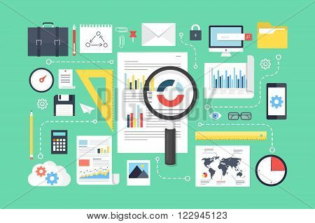 Data analysis, research, analytics elements. Flat design style modern vector illustration.