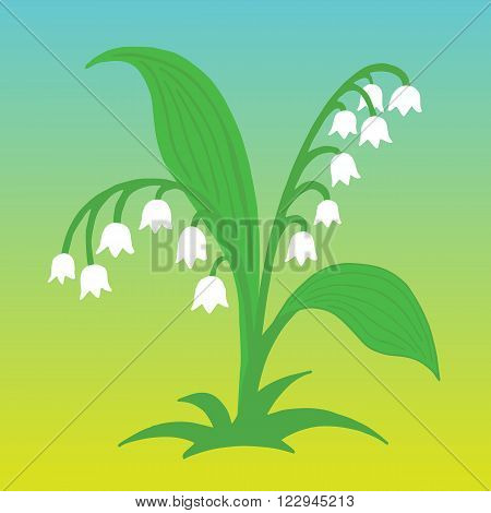 Flower Lily of the valley illustration on monotone background