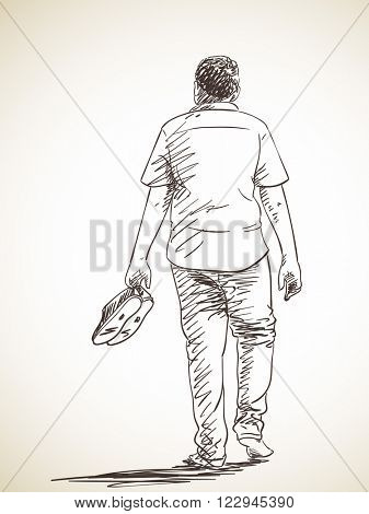 Sketch of man walking barefoot, Back view, Hand drawn illustration