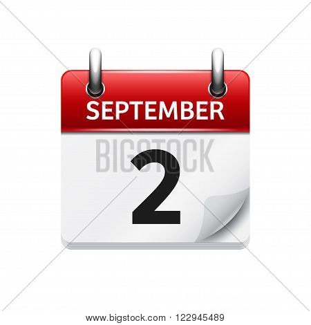 September  2. Vector flat daily calendar icon. Date and time, day, month. Holiday.