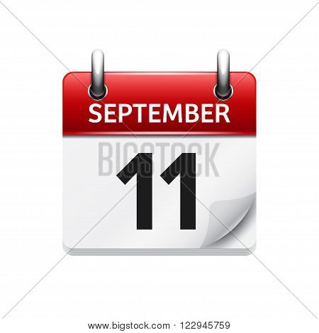 September  11. Vector flat daily calendar icon. Date, day, month. Holiday.