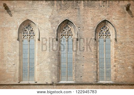 Church window of the Catedral del Mar in Barcelona, Spain