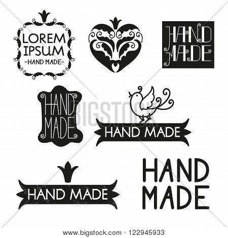 Set of different styles hand made logotypes design elements and labels. Hand made made with love Vector illustration